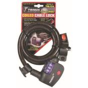 trl126 - TRL126 Trimaflex Coiled LED Combination Cable Lock W/Quick Release Bracket 6' x 12mm Diameter
